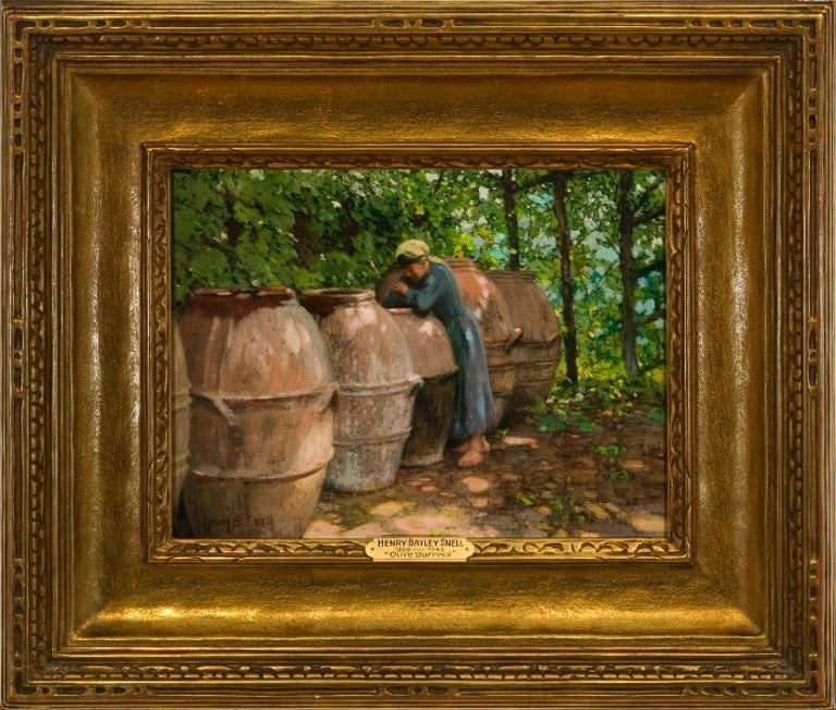 "Henry Bayley Snell Figurative Painting - ""Olive Barrels"""