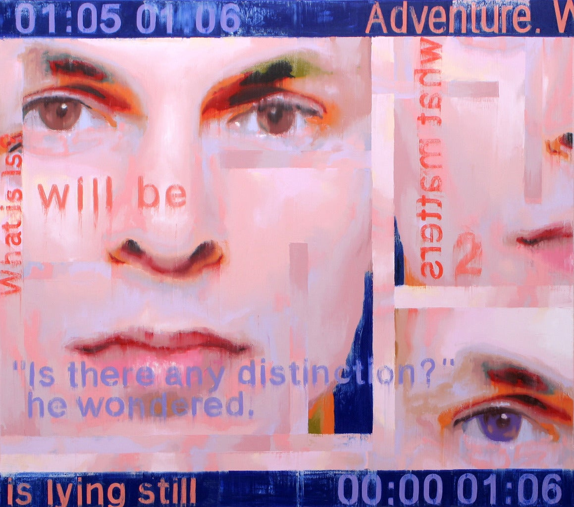 Picture of Time and Identity Contemporary Large Blue and Pink Faces