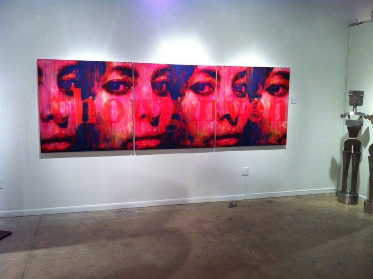 Djawid Borower Figurative Painting - Picture of a Poem, Large Original Canvas Pink, Blue, Contemporary Portrait
