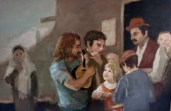 "Seymour Remenick Figurative Oil Painting ""Folk Singers"""