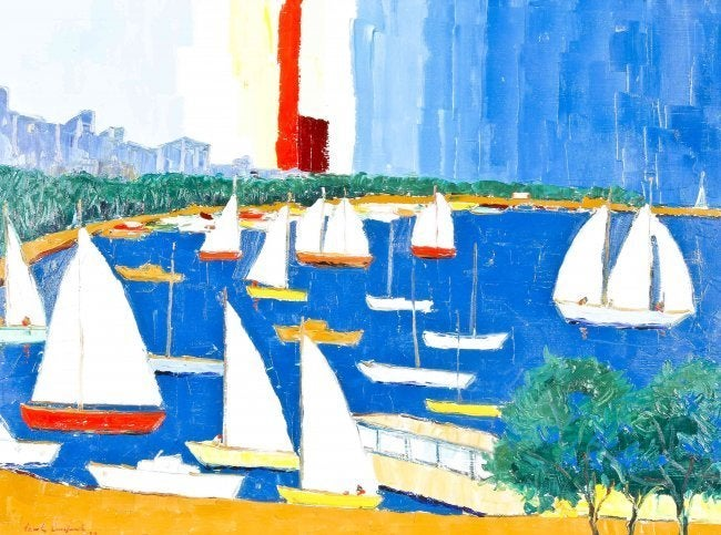 Marine Oil Painting Sailing Scene in Harbor 1970 For Sale 2