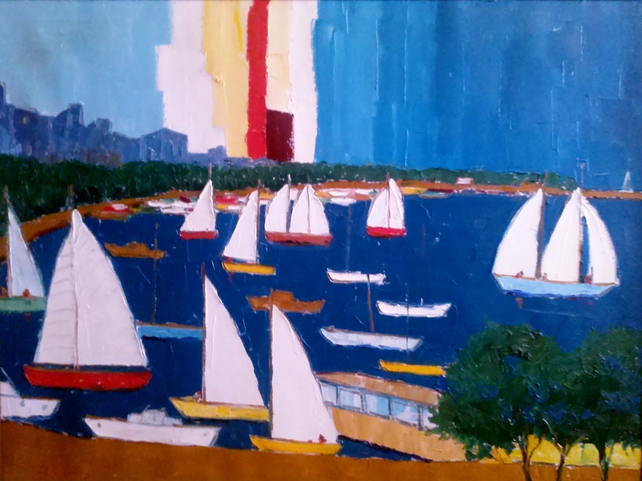 Campanile Landscape Painting - Marine Oil Painting Sailing Scene in Harbor 1970