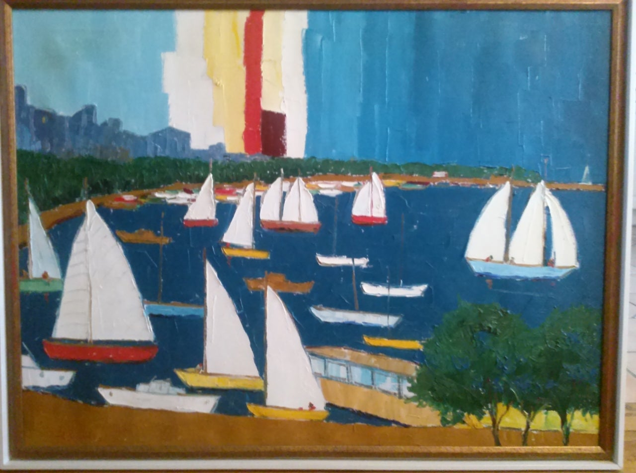 Large, vivid palette knife painting in the manner of Nicola Simbari. Dated 1970. signature is illegible but  appears to read Campanile as a last name. It depicts sailboats in a harbour. A wonderful nautical theme.