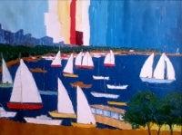 Marine Oil Painting Sailing Scene in Harbor 1970