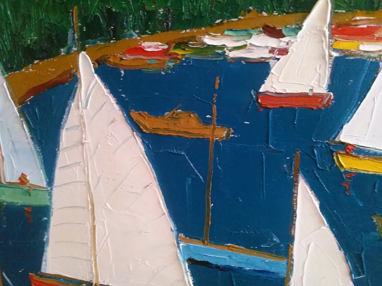 Marine Oil Painting Sailing Scene in Harbor 1970 For Sale 1