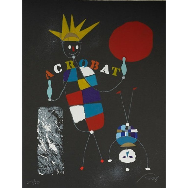 Rare Wolfgang Roth Dada Bauhaus Circus Silkscreen Print 6 - Black Animal Print by Wolfgang Roth