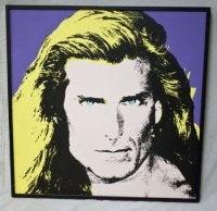 Rare Unique Oil Painting Silkscreen of Fabio Pop Art 80s Icon