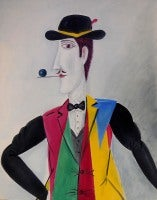 Israeli Surrealist Figure, Benny Levy Oil Painting