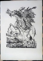 1936 Lithograph Soldier on Horse with Gas Mask small edition
