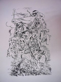 1936 Lithograph Soldiers in battle World War I small edition