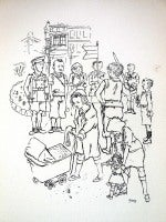 1936 Lithograph Children Playing Soldier small edition