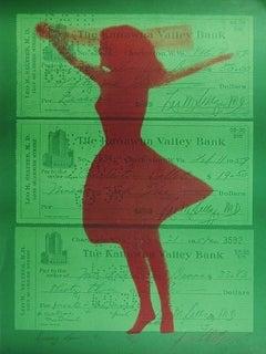 """1970s Pop Art """"Dancing Lessons #2"""" Green, Pink Silkscreen Mod Ballet Girl Print"""
