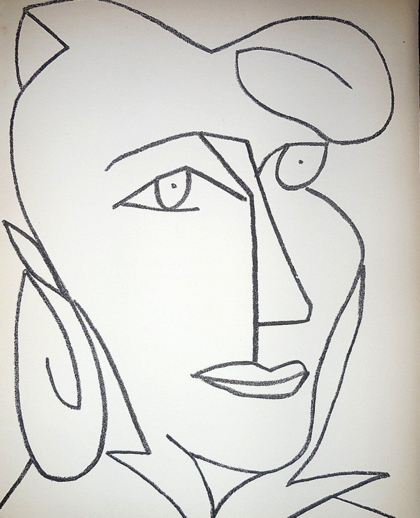 Portrait Head of a Woman,  Original French Mourlot Modernist Lithograph 1950s
