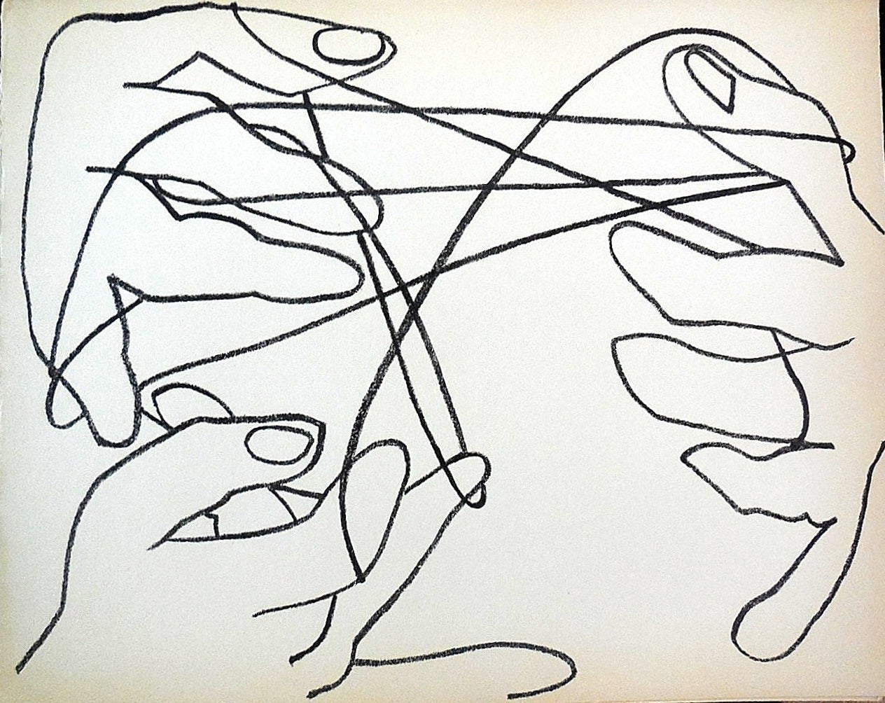 Cats Cradle,  Original French Mourlot Modernist Lithograph 1950s