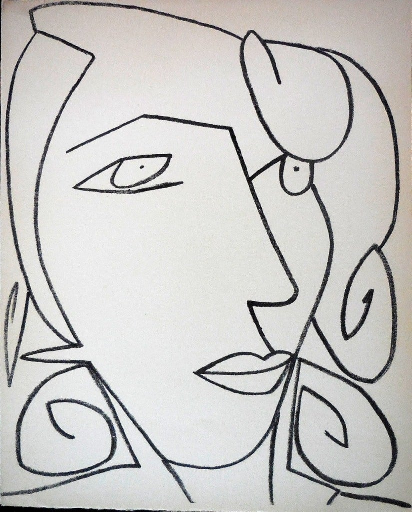 Françoise Gilot Portrait Print - Portrait Head of a Woman