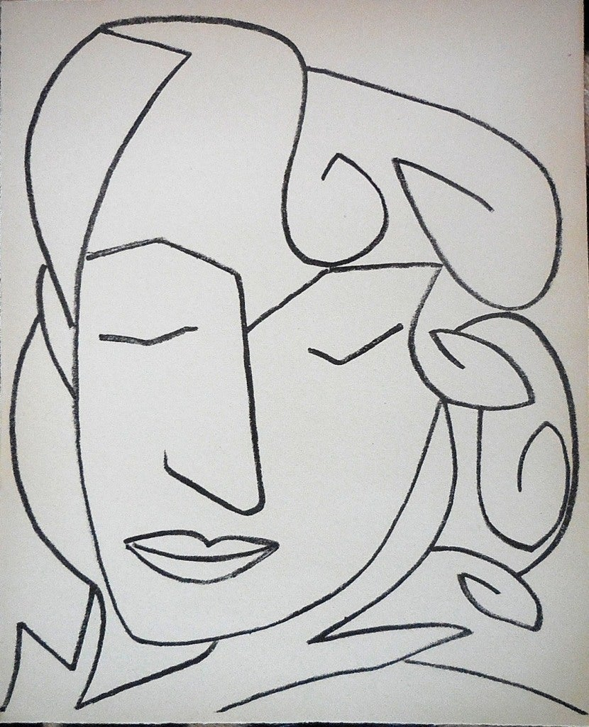Portrait Head of a Woman, Original French Mourlot Modernist Lithograph, 1950s