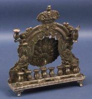 Rare Antique Silver Peacock Hanukah Lamp Judaica Menorah