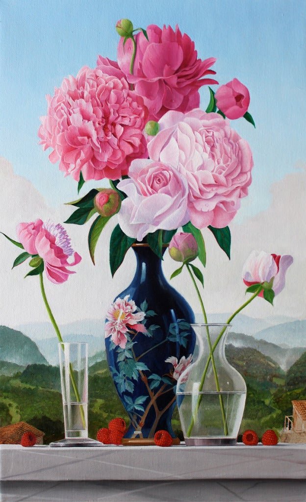James Aponovich Peonies In A Japanese Vase Painting For