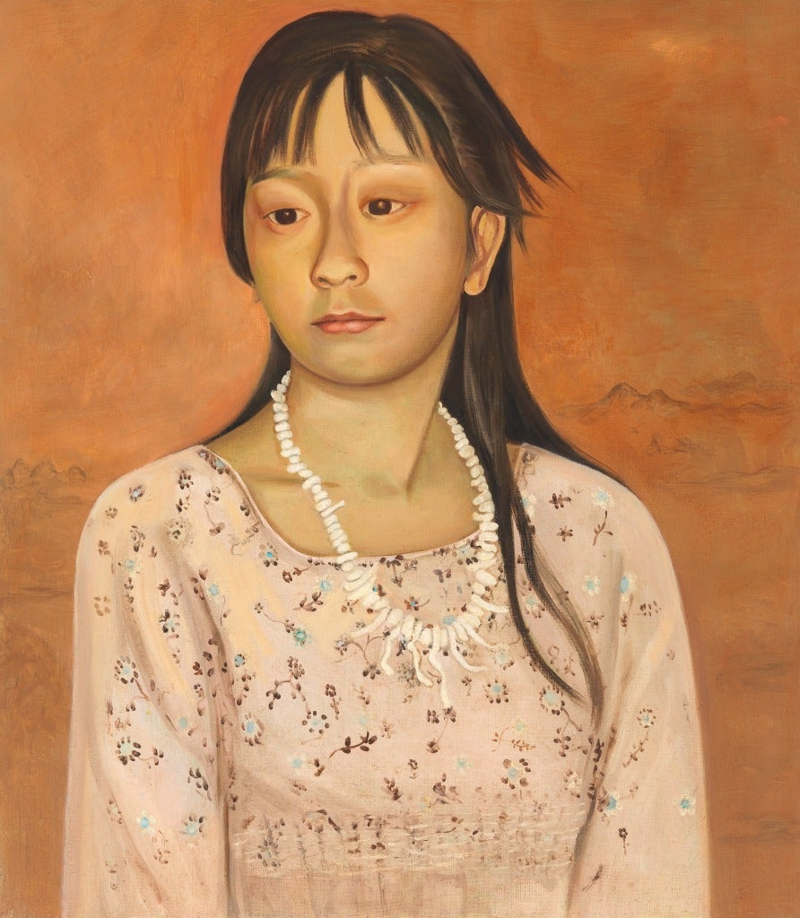 Jane Smaldone Portrait Painting - Young Girl with Shell Necklace