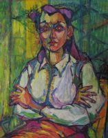 Seated Woman with Purple Hair