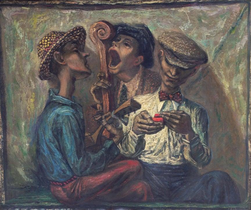 Street Trio - Painting by Albert Pels