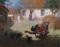 Farmyard scene with chickens and child. Signed Oil on Canvas by Annie L Simpson