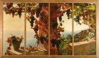The Grape Vine, Cannes - by Ruth Mercier, signed. Oil on panels