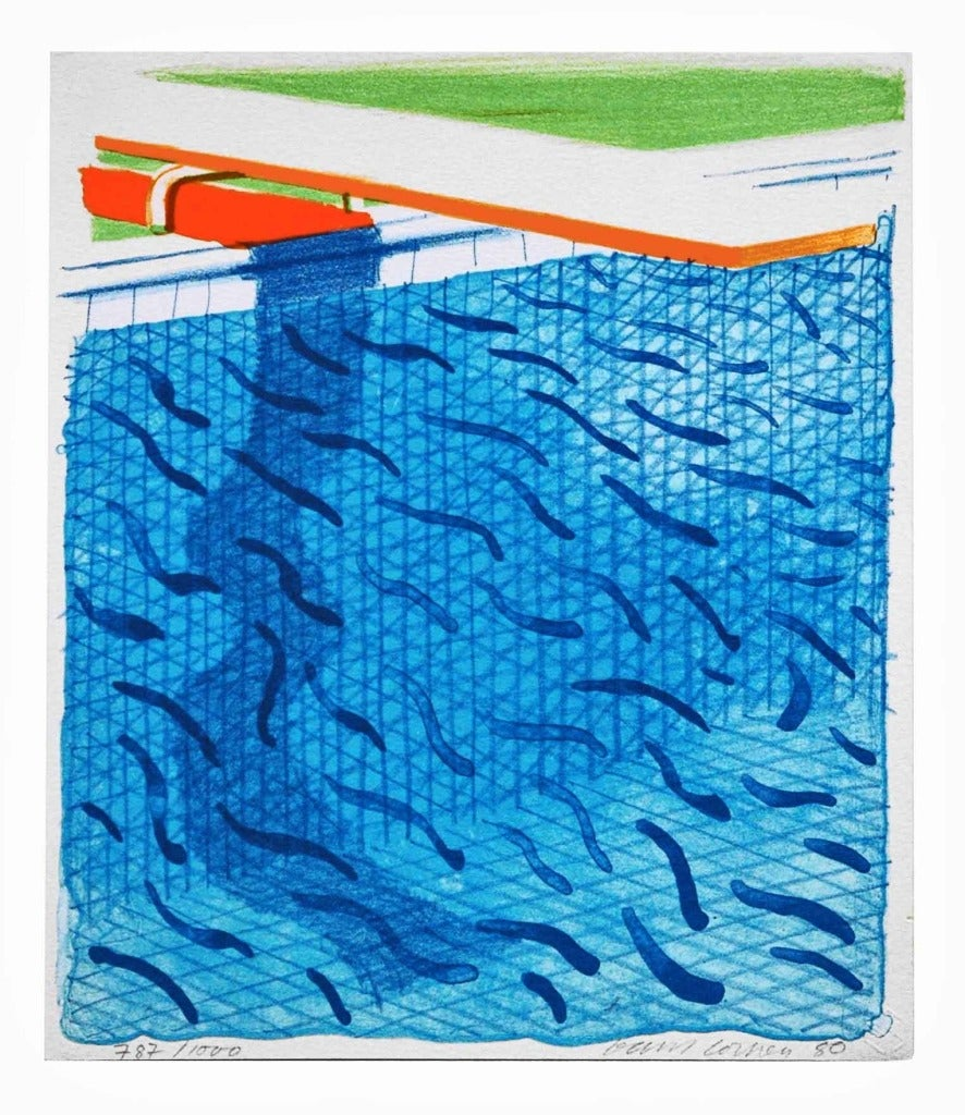 David hockney pool made with paper and blue ink for book - David hockney swimming pool paintings ...