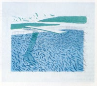 Lithographic water made of lines, crayon, and a blue wash