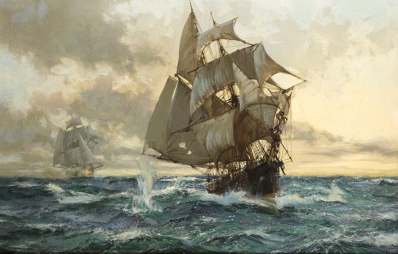 Montague dawson the escaping smuggler painting at 1stdibs for The montague
