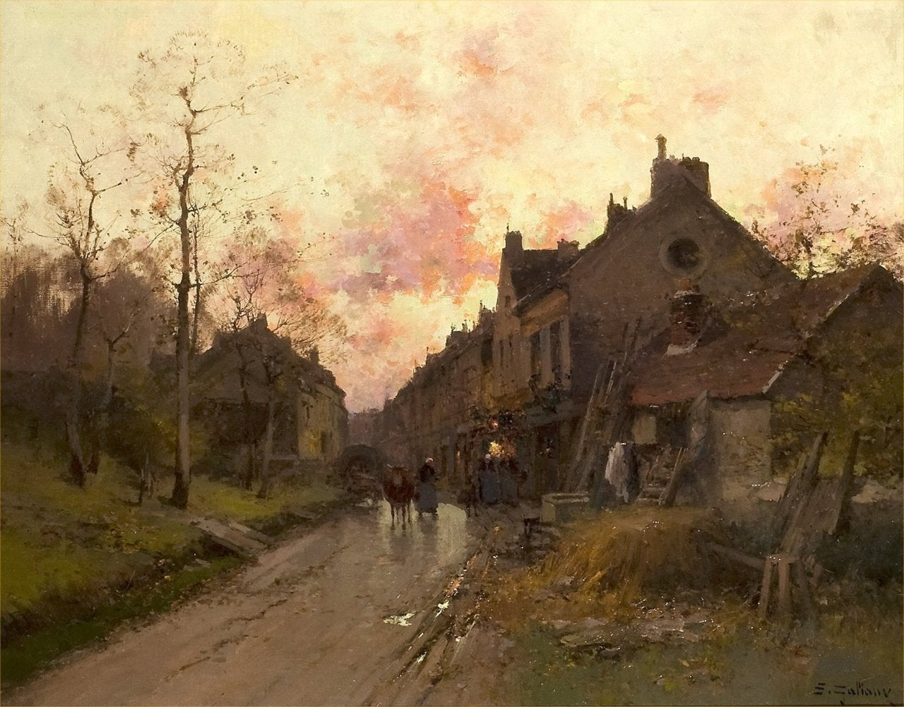 Eugene Galien-Laloue - Soiree en Normandie, Painting at ...