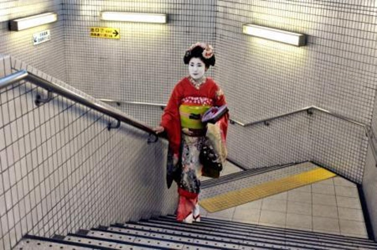 Steve McCurry Figurative Photograph - Geisha in Subway, Kyoto, Japan, 2007 - Colour Photography, Portrait Photography
