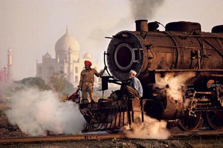 Steve McCurry Landscape Photograph - Taj and Train, Agra, India, 1983 - Colour Photography