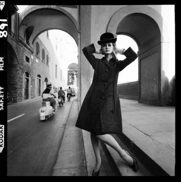 Fashion for Vogue, Florence, 1964  - Brian Duffy (Black and White Photography) Modern silver gelatin print Signed and embossed with archive stamp below mount Archive ink stamp and numbered 1/50 in reverse  18 x 18 inches From an edition of