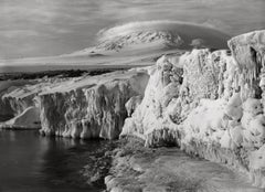 Erebus and Dome Cloud from West Beach, Icicled Foreground, 7 March 1911