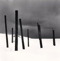 Seven Posts in Snow, Rumoi, Hokkaido, Japan, 2004  - Michael Kenna