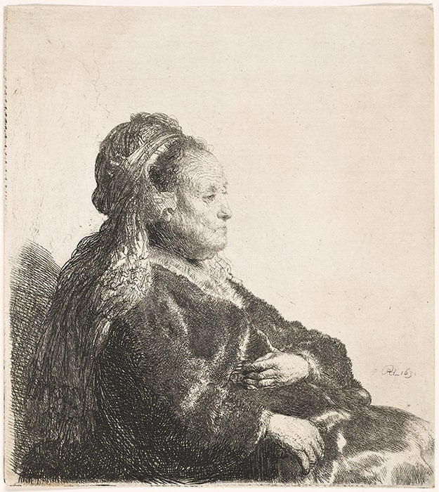 THE ARTISTS MOTHER SEATED, IN AN ORIENTAL HEADDRESS: HALF LENGTH