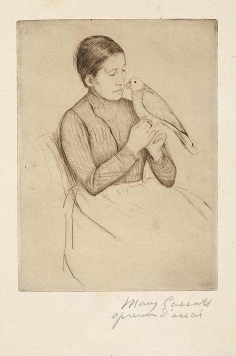 Mary Cassatt Figurative Print - The Parrot