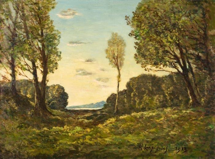 Henri Joseph Harpignies Landscape Painting - Paysage de L'yonne