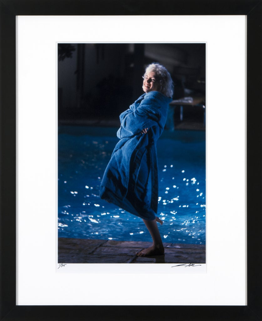 Marilyn Monroe (wrapped in robe), Something's Got To Give, May 23, 1962 - Photograph by Lawrence Schiller