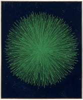 Hard Drawing: Green Burst on Blue