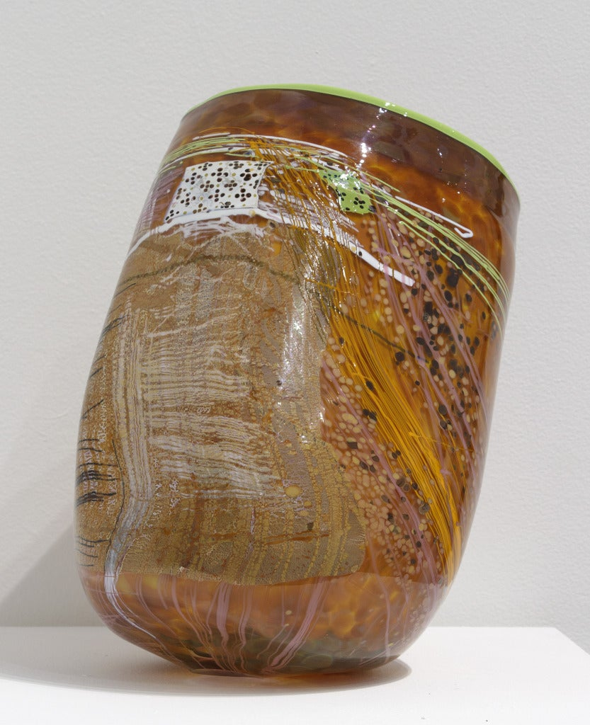 Dale Chihuly Ruby Soft Cylinder Chartreuse At 1stdibs