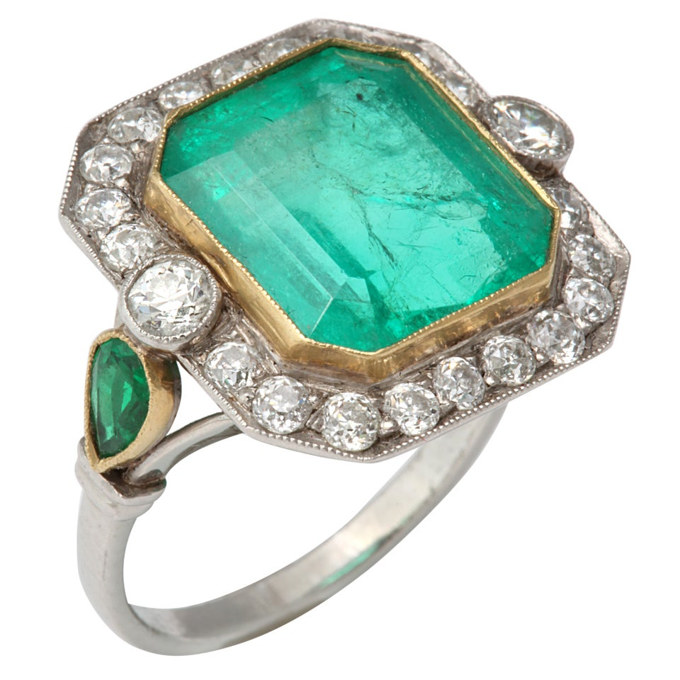 Art Deco Emerald And Diamond Ring At 1stdibs