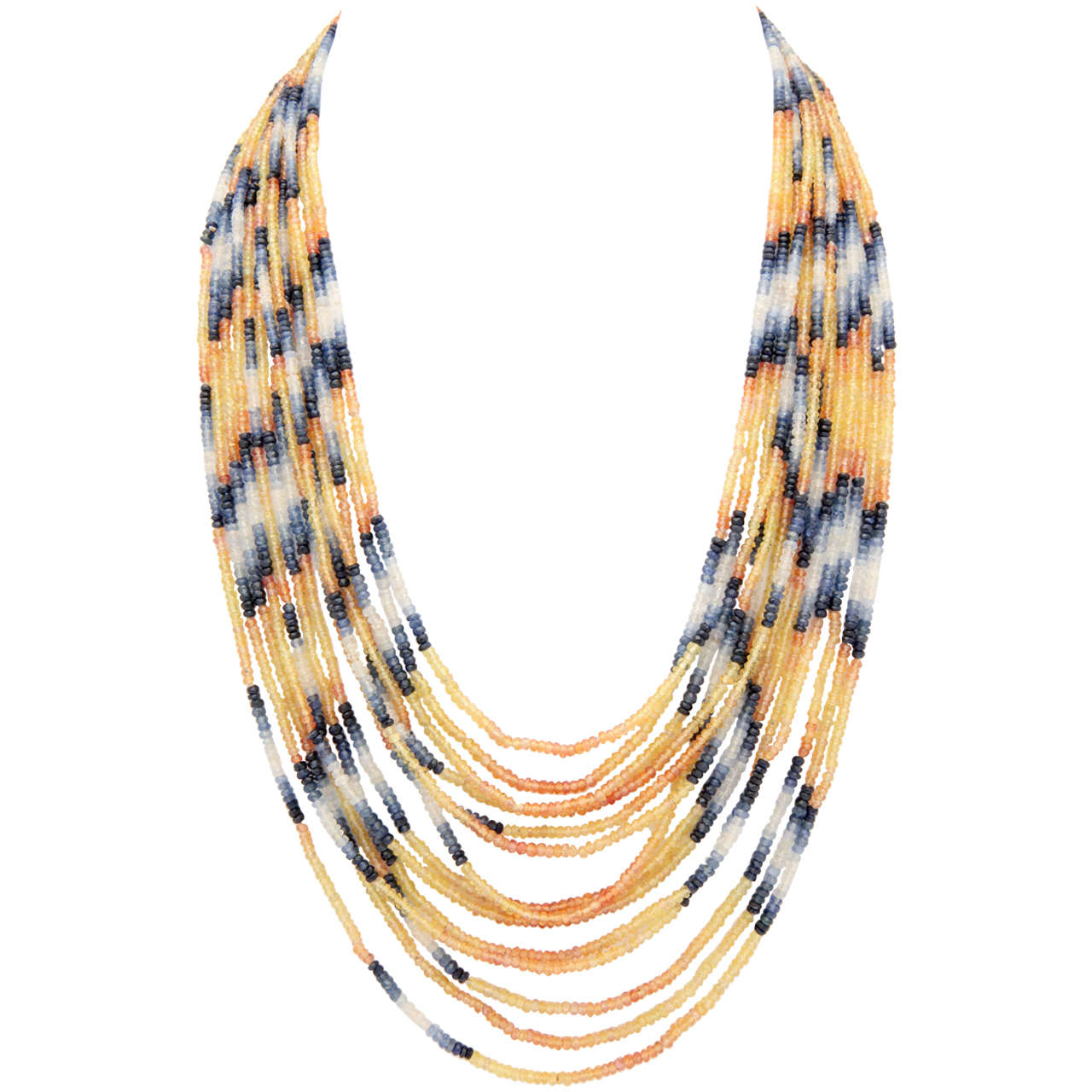 Spectacular 14 Strand Sapphire Bead Necklace