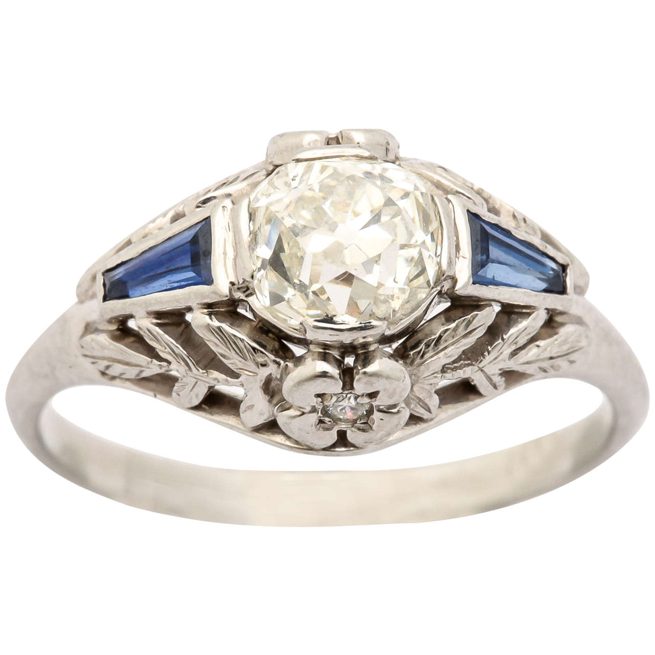 Old Mine Cut Sapphire Diamond Platinum Deco Ring