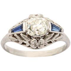 Old Mine Cut Sapphire Diamond Platinum Deco Ring