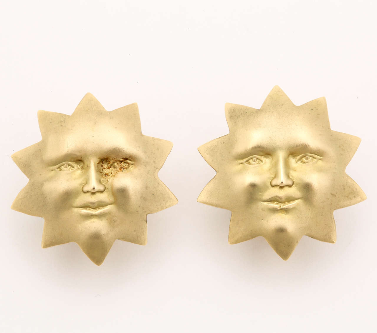 Gold Sun Face Clip Earrings 2