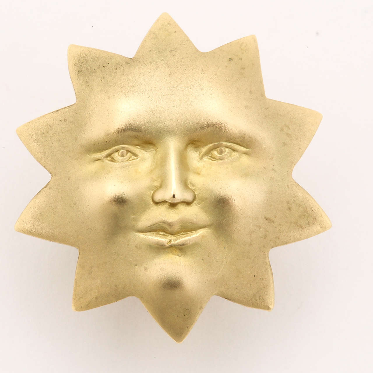 Gold Sun Face Clip Earrings 3