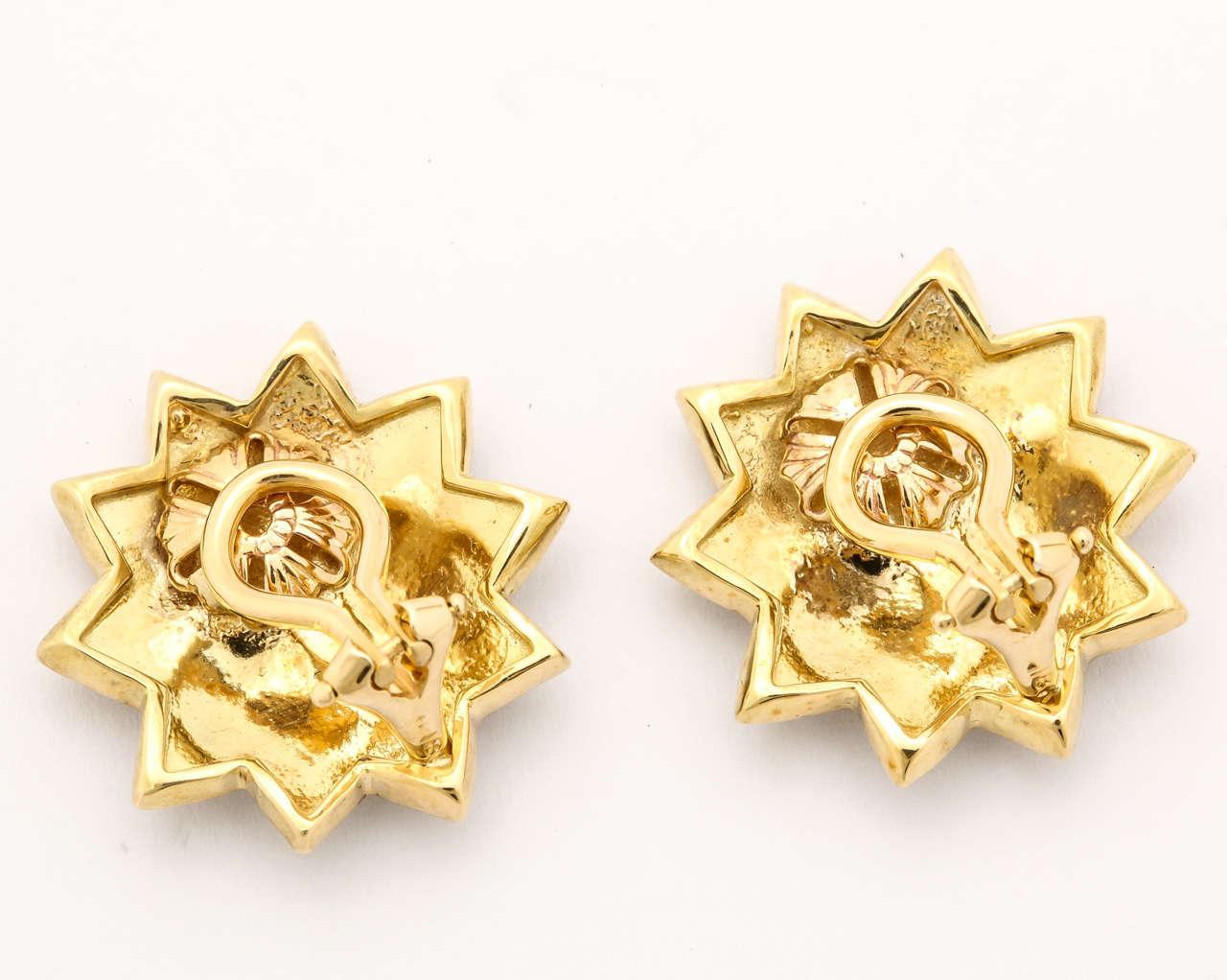 Women's Gold Sun Face Clip Earrings For Sale
