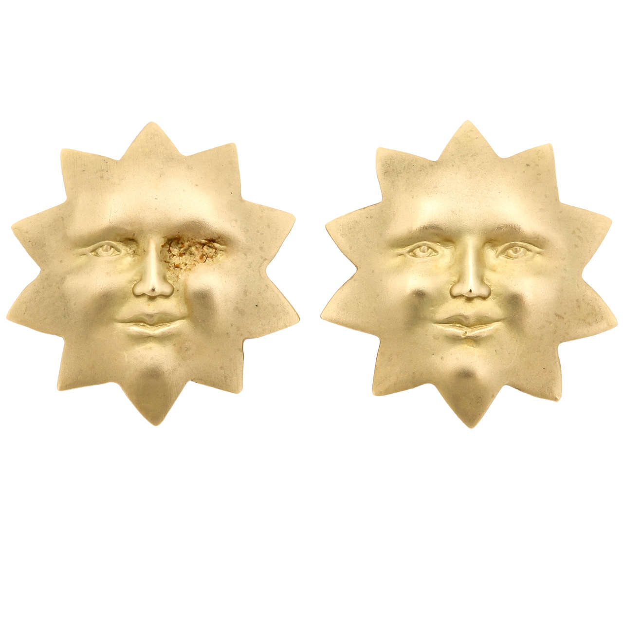 Gold Sun Face Clip Earrings